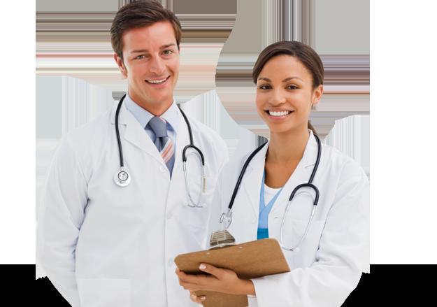 Homem e Mulher com roupas brancas ilustrando médicos